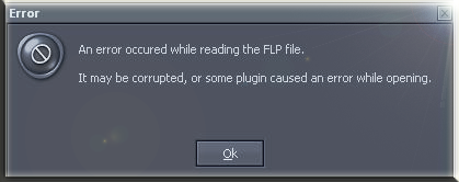 An error occurred while reading the FLP file